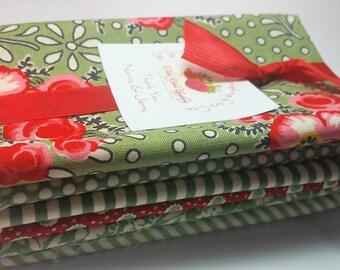 Merry Go Round - Fat Eights Bundle - Retro Fabrics - Stash Builder American Jane Moda 6 Cuts Greens Red Floral Dots Stripes - Fabric Destash