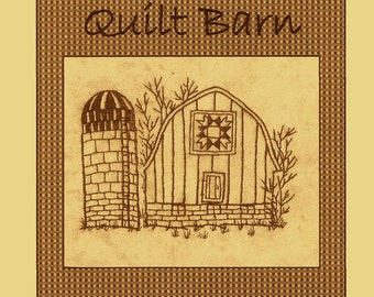Quilt Barns Ohio Star Block  Variation- Redwork Hand Embroidery Pattern - by Beth Ritter - Instant Digital Download