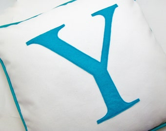 Monogram pillow case - personalized with initial - wedding gift - Monogrammed Letter - custom colors - Letter cushion - blue letter pillow