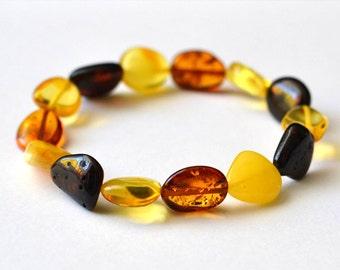 Natural Amber bracelet - Multicolored