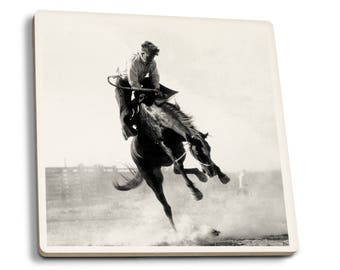 Burns, OR - Cowboy Riding Bronco - Vintage Photo (Set of 4 Ceramic Coasters)