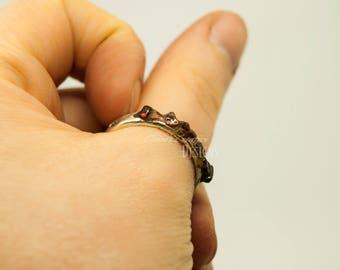 Garnet Ring/ Ice Ring/ Mountain Ring/ Valentines Ring/ Garnet Ring/ Color Change Garnet/ January Birthstone/ Size 9 Garnet Ring