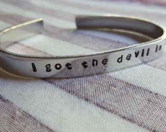 I Got The Devil In Me Daredevil Inspired Handstamped Aluminium Cuff Bracelet