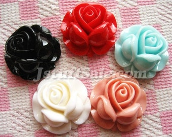 Rose cabochons 5 piece mix 27mm (Y179)