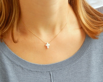 White Opal cross gold chain necklace, tiny white Opal cross Necklace, dainty necklace, cross necklace, minimalist necklace, gift for her 052