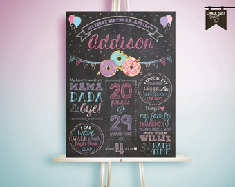 "Custom DONUT & sprinkles chalkboard style first or any age birthday milestone poster. Sweets, cake, icing 18 x 24"" digital file."