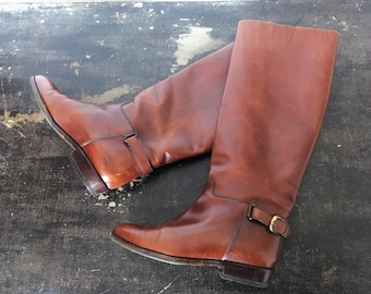 Vintage 80's BALLY Brown Leather Equestrian Boots / 37.5 EUR / 6 US / 4.5 Uk