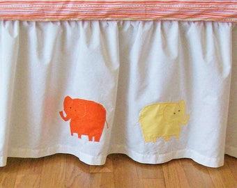 SALE! Organic Crib Skirt: Safari Crib Skirt, Safari Dreams, Ready to Ship, Safari, Organic Baby Bedding, Elephants, Alligators