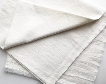 cotton blended linen fabric. japanese light weight tumbler washer fabric. 95cm wide (37.4in). sold by 50cm long (19.6inch). white