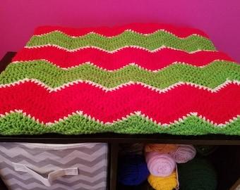 Handmade Crochet Chevron Blanket