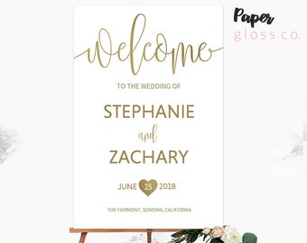 GOLD Wedding Sign, Gold wedding welcome sign Printable Wedding Welcome Sign, Gold wedding decor, Wedding Signs Gold