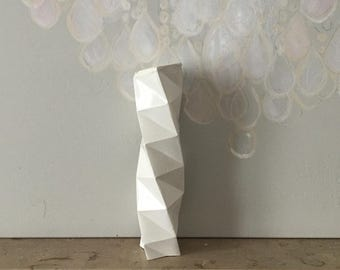 Original Sculpture // column torso // object geometric concrete origami // decorative object