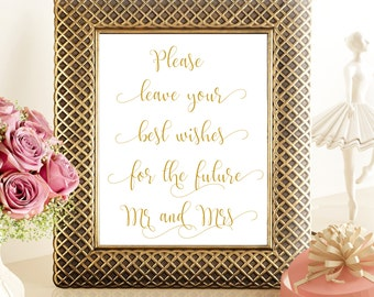 SALE 70% Best Wishes for the future Mr Mrs Sign Printable Gold, Printable Wedding Sign, digital please leave your wishes for the mr mrs