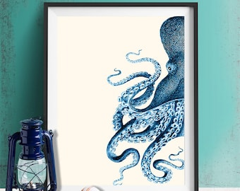 Octopus Half Blue/Cream, Nautical print beach house decor wall decor octopus decor octopus print bathroom decor illustration bathroom poster