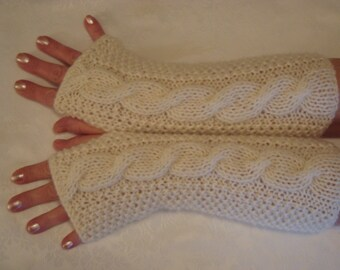 Alpaca Fingerless Gloves Mittens.Knit. Color Options.Long Cable Arm Warmers.Soft.Winter.