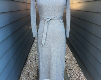 1970s Knit Dress // 1970s Dress // Vintage Sweater Dress // Silver Dress // Maxi Dress