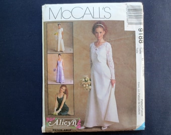 1998 Bridal Gown, Wedding, Bridesmaid Formal Dress & Jacket Uncut Pattern, McCalls Alicyn 9188, Size 10, 12, 14