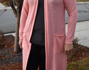 Diamond Duster - women's casuals long cardigan sweater pockets plus size custom sized super soft long sleeve layering