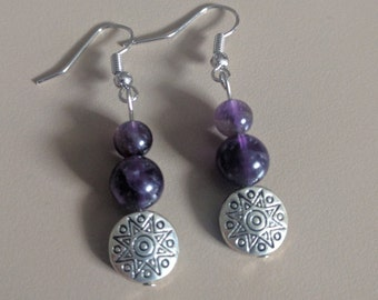 Mothers day gift, Silver and Amethyst Bead Earrings, Amethyst Jewelry, Amethyst Earrings, Silver Earrings, Beaded Earrings, Sun Earrings,