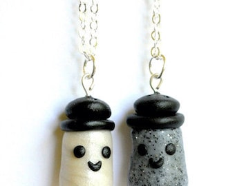Best Friend Salt and Pepper Necklaces, BFF Gift, Polymer Clay, Tween Jewelry