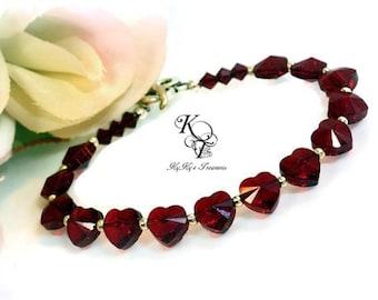 Heart Bracelet, Garnet Bracelet, Valentines Gift, Valentines Jewelry, Heart Jewelry, Anniversary Gifts, Wife Gifts, Love Jewelry, Heart Gift