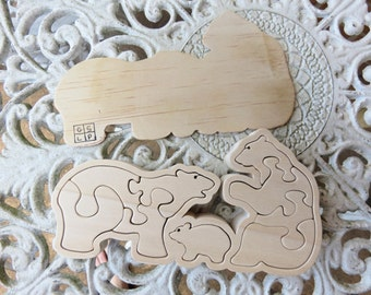 Handcrafted Free Standing Wooden Polar Bear Family Tray Puzzle - 17.5cm x 9.0cm