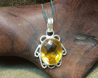 Yellow Citrine Glass Pendant Sterling Silver Plated over Copper