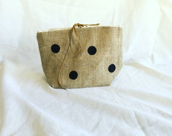 Burlap and cotton Greta pouch