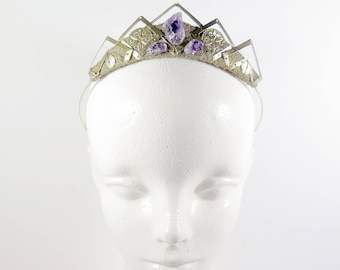 Yara Amethyst and Gold Filigree Crystal Tiara - by Loschy Designs
