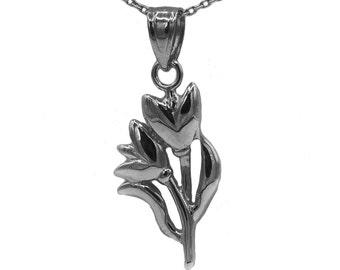10k Black Gold Tulip Necklace