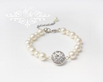 Wedding Jewelry Single Strand Swarovski Pearl Bracelet Flower girl Bracelet Bridesmaids Bracelet Children Bracelet Rhinestone Bracelet