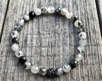 Tourmalated Quartz Bracelet, Black Tourmaline, Tourmaline Jewelry, Mala Bracelet, Wrist Mala, Tourmaline Crystal, Prayer Beads