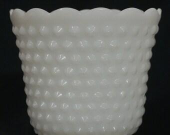 Vintage Milk Glass Vase with Hobnail Pattern