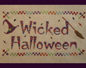 Wicked Halloween! Instant Download PDF Counted Cross Stitch Pattern.  Counted Embroidery. All Hallows Eve. Witch Hat. X Stitch.