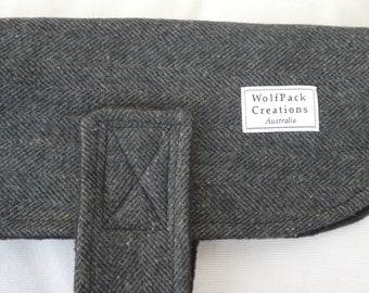 Grey Herringbone Wool Winter Dog Coat