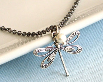 Small Dragonfly Necklace - Dragonfly Jewelry, Nature Jewelry, Garden Jewelry, Silver Dragonfly Necklace, Minimalist Jewelry