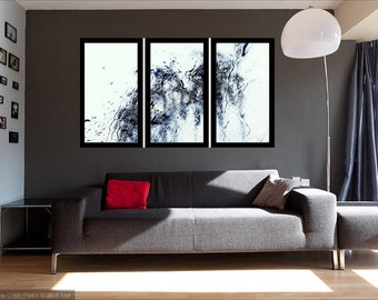 Extra Large Modern Art Set Of 3, L'art abstrait noir et blanc, Abstract Tryptich Canvas panel,Black And White Rain Photography, Metal Decor.