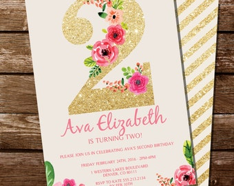 Second Birthday Invitation - Gold Glitter Floral Watercolor Birthday Invitation - Instant Download and Edit at home with Adobe Reader