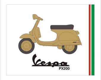 Scooter art, Vespa PX200 framed art. Scooterist Mod