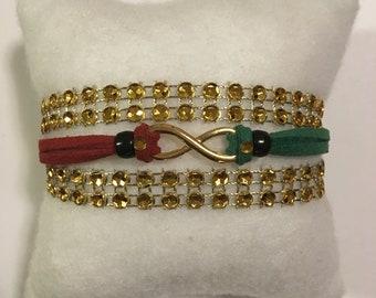 Gold Rhinestone Infinity Charm Bracelet