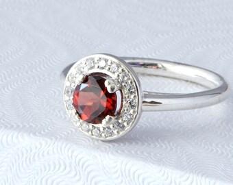 Garnet Halo Ring, Garnet Ring, Sterling Silver Halo Ring, Birthstone Ring, January Birthstone, Gifts For Her, Gift For Her