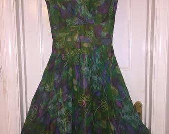 Vintage 1950s Alix of Miami Chiffon Floral Dress