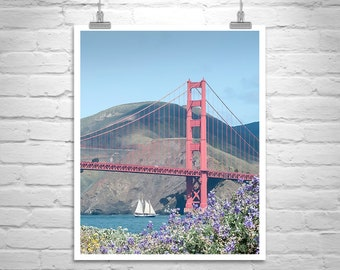 Golden Gate Bridge Photo, San Francisco Photo, Sailing Art, Marin County Art, Presidio National Park, Wildflower Art, San Francisco Gift