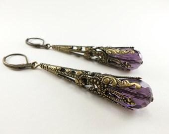 Amethyst Earrings Long Dangle Earrings February Birthstone Earrings Steampunk Victorian Jewelry