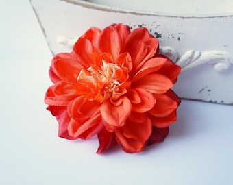 Large Orange Hair Flower Dahlia Clip