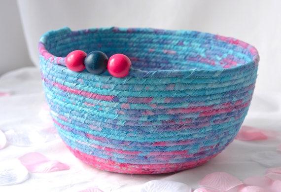 Artisan Batik Basket, Handmade Quilted Fiber Basket, Key Holder Bowl, Modern Mail Holder Bin, Fruit Bowl, Unique Coiled Fabric Basket