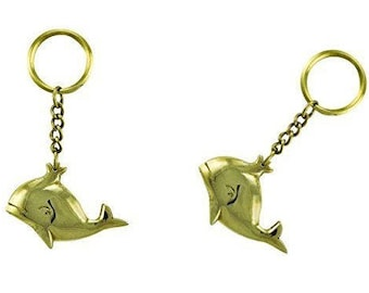 2 x key ring / ring - maritime brass - whale. massive processing