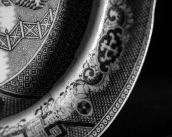 Black and White Photography - Vintage Irish Plate Print - Antique Crockery Art - Detail Photograph - Victorian Decor