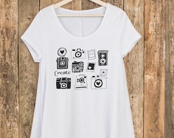 Camera T Shirt - Photography Shirt - Ladies Graphic Tee - Vintage Camera Shirt - Yoga Shirt - Boutique Shirt - Camera Tee - Boho Shirt