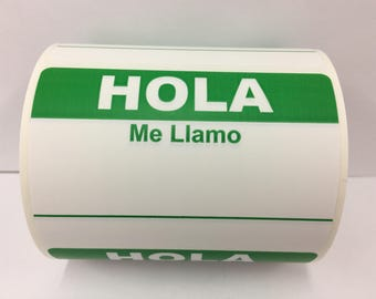 """100 Green HOLA ME LLAMO Stickers 3-1/2"""" x 2-3/8"""" Name Tag Identification Labels"""